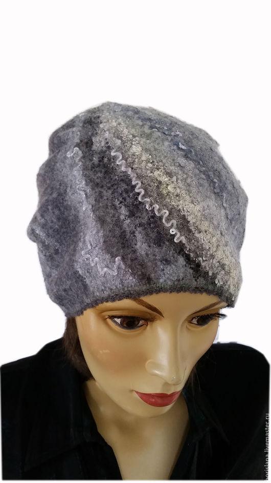 шапка , шапка войлочная, валяная шапочка, шапка валяная, шапка шерстяная, шапка из шерсти, женская шапка, теплая шапка, модная шапка, шапка трансформер, шапка на осень, шапка бини, серая шапка