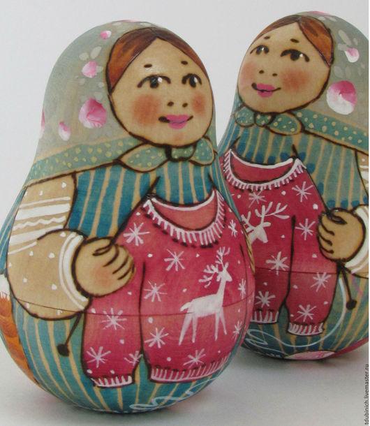 """Новый год 2017 ручной работы. Ярмарка Мастеров - ручная работа. Купить Неваляшка """"Свитер с оленем"""", новогодний сувенир, подарок на Новый Год. Handmade."""