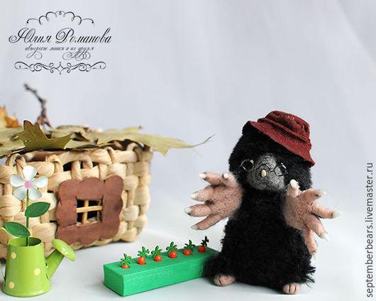 Игрушки животные, ручной работы. Ярмарка Мастеров - ручная работа. Купить кротик Копуша. Handmade. Черный, садовод, мышонок