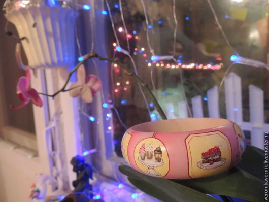 """Браслеты ручной работы. Ярмарка Мастеров - ручная работа. Купить """"Сладкая жизнь"""". Handmade. Папье-маше, тортики"""