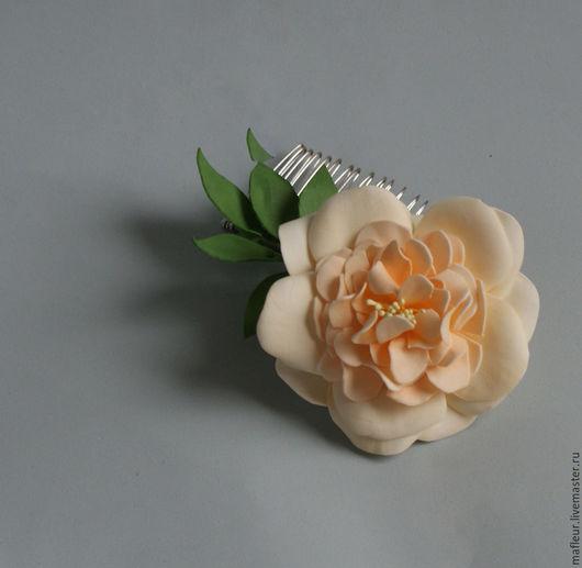 Гребни, расчески ручной работы. Ярмарка Мастеров - ручная работа. Купить Гребень для волос с розой из фоамирана. Handmade. Роза, фоамиран