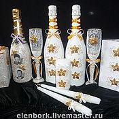 Свадебный салон ручной работы. Ярмарка Мастеров - ручная работа свадебный набор бело-золотой. Handmade.