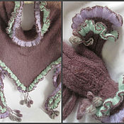 Аксессуары handmade. Livemaster - original item Gloves Bacchus mini Plum knitted shawl. Handmade.