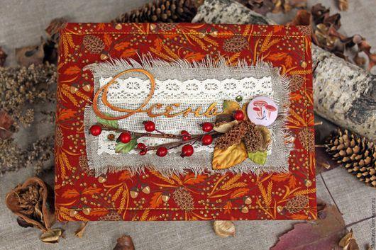Фотоальбомы ручной работы. Ярмарка Мастеров - ручная работа. Купить Осенний альбом. Handmade. Рыжий, фотоальбом, листья, картон переплётный