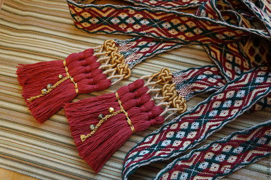 """Одежда ручной работы. Ярмарка Мастеров - ручная работа. Купить Тканый пояс """"Сказка"""" с новым вариантом кистей. Handmade. Бордовый"""