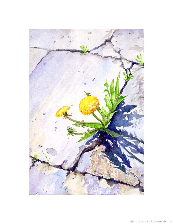 """Картины цветов ручной работы. Ярмарка Мастеров - ручная работа. Купить Акварель """"Прорвались"""". Handmade. Цветы, акварельные цветы"""