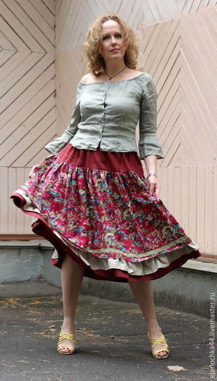 """Юбки ручной работы. Ярмарка Мастеров - ручная работа. Купить Юбка бохо """"Малинка"""". Handmade. Бордовый, летняя юбка"""