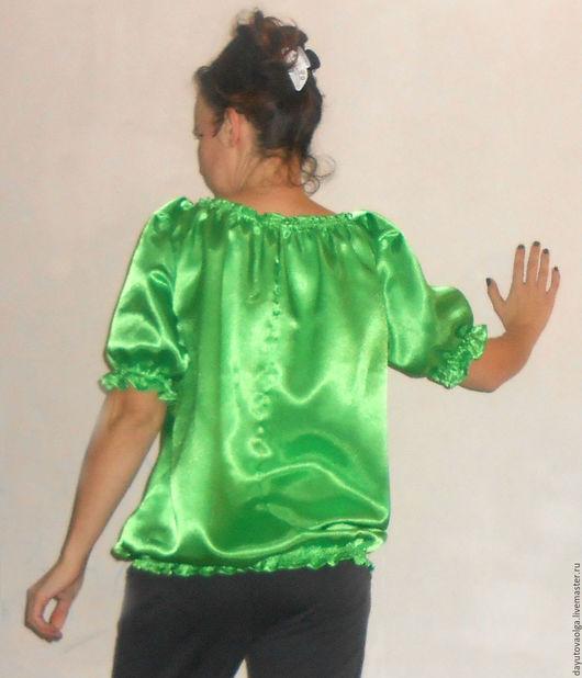 """Блузки ручной работы. Ярмарка Мастеров - ручная работа. Купить Блузка """"Карима"""" зеленая. Handmade. Зеленый, ярко-зелёный, шелковистый"""