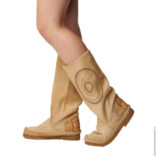 Обувь ручной работы. Ярмарка Мастеров - ручная работа. Купить Демисезонные сапоги из пони STELLA /бежевые/37;38 размеры в наличие. Handmade.