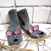 Носки ручной работы. Ярмарка Мастеров - ручная работа Вязаные носки-мышки из полушерстяной пряжи, размер 37-38. Handmade.