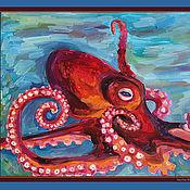 Картины и панно ручной работы. Ярмарка Мастеров - ручная работа Красный осьминог. Handmade.