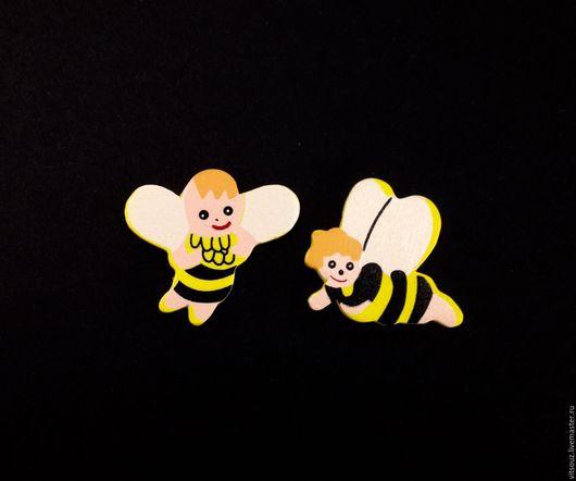 """Декупаж и роспись ручной работы. Ярмарка Мастеров - ручная работа. Купить Декор """"Веселые пчелки"""" на липучке. Handmade. Комбинированный"""