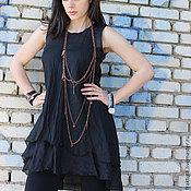 Одежда ручной работы. Ярмарка Мастеров - ручная работа Черный топ / Черная майка  B0021. Handmade.