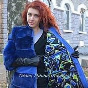 Одежда ручной работы. Ярмарка Мастеров - ручная работа Шуба-куртка-жилет синяя из натуральной замши и кролика. Handmade.