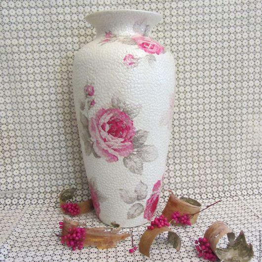 Вазы ручной работы. Ярмарка Мастеров - ручная работа. Купить Вазы ручной работы. Стеклянная ваза Розы на перламутровом. Handmade.