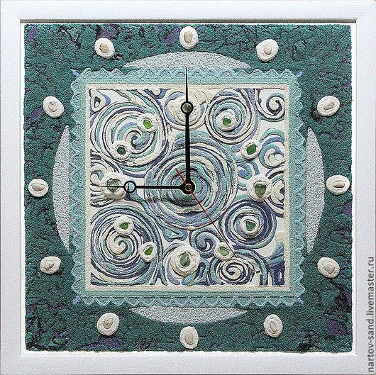 """Часы для дома ручной работы. Ярмарка Мастеров - ручная работа. Купить """"МАЛАХИТОВАЯ ШКАТУЛКА"""" настенные часы. Handmade. Морская волна"""