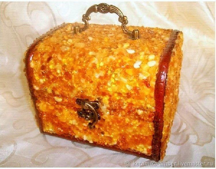 Jewelry box amber box stone box,wood box with baltic amber jewelry gif, Box, Kaliningrad, Фото №1