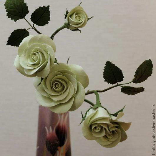 Цветы ручной работы. Ярмарка Мастеров - ручная работа. Купить Кустовая роза зеленоватого цвета из полимерной глины. Handmade. Салатовый