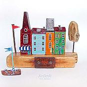 """Для дома и интерьера ручной работы. Ярмарка Мастеров - ручная работа Морская композиция """"Городок у моря"""". Handmade."""