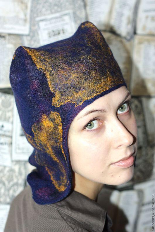 Шапки ручной работы. Ярмарка Мастеров - ручная работа. Купить валяная синяя шапка ушанка с ушками. Handmade. Тёмно-синий