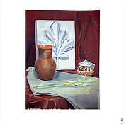 Картины и панно ручной работы. Ярмарка Мастеров - ручная работа Натюрморт с крынкой. Handmade.