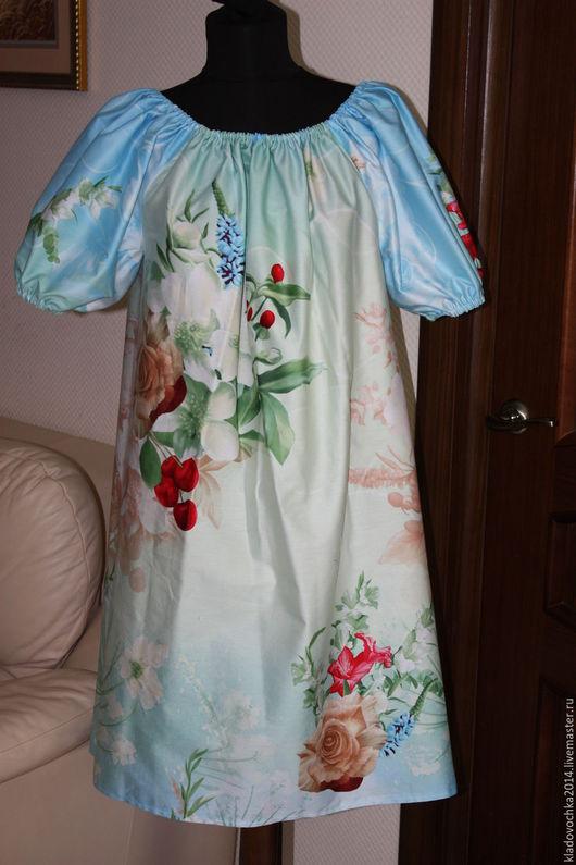 """Платья ручной работы. Ярмарка Мастеров - ручная работа. Купить Маленькое платье """"Летнее утро"""". Handmade. Голубой, платье в подарок"""