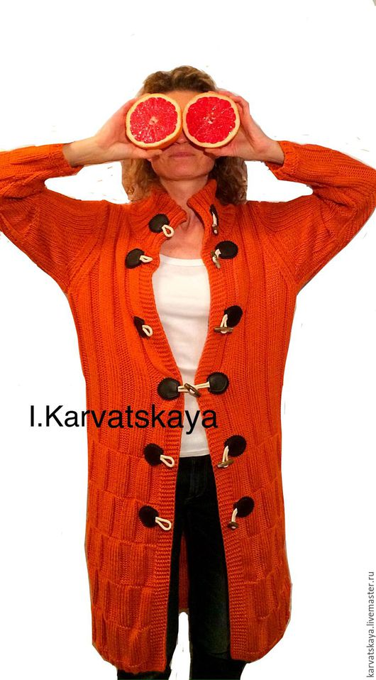 Верхняя одежда ручной работы. Ярмарка Мастеров - ручная работа. Купить Пальто вязаное. Handmade. Оранжевый, пальто женское