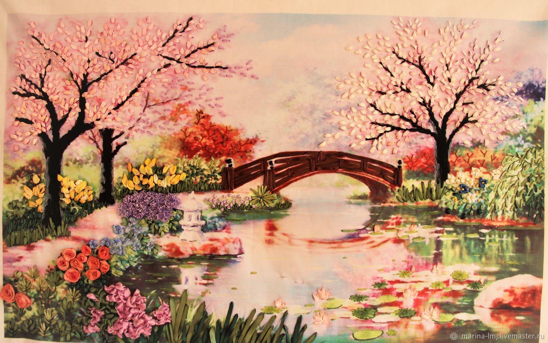 Картина вышитая лентами Китайский сад, Картины, Москва, Фото №1