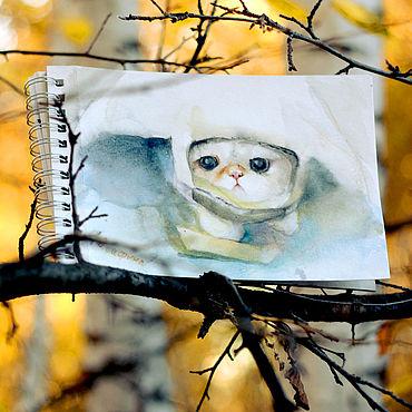 Картины и панно ручной работы. Ярмарка Мастеров - ручная работа Картина кот в пакете. Handmade.
