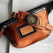 Сумки и аксессуары handmade. Livemaster - original item Black&Brown set, waist bag and Manshe wrist watch. Handmade.