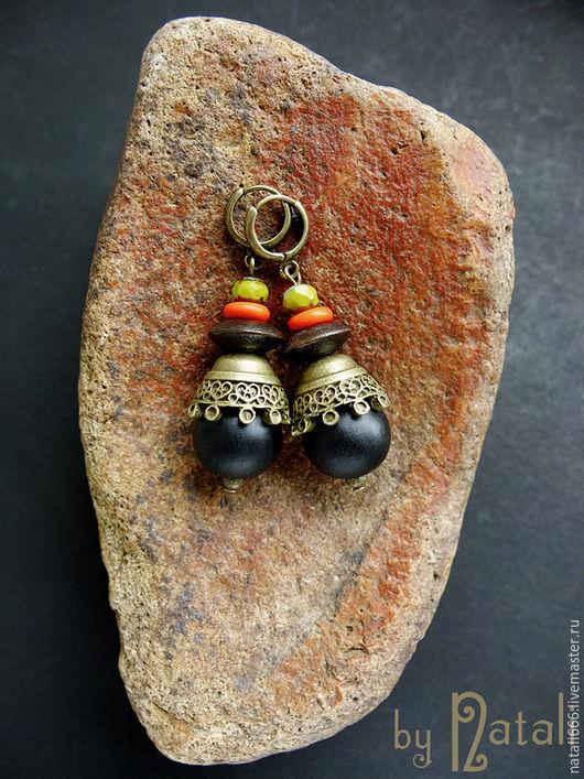 """Серьги ручной работы. Ярмарка Мастеров - ручная работа. Купить Серьги """"Африканский сувенир"""" деревянные. Handmade. Африка, деревянные серьги"""
