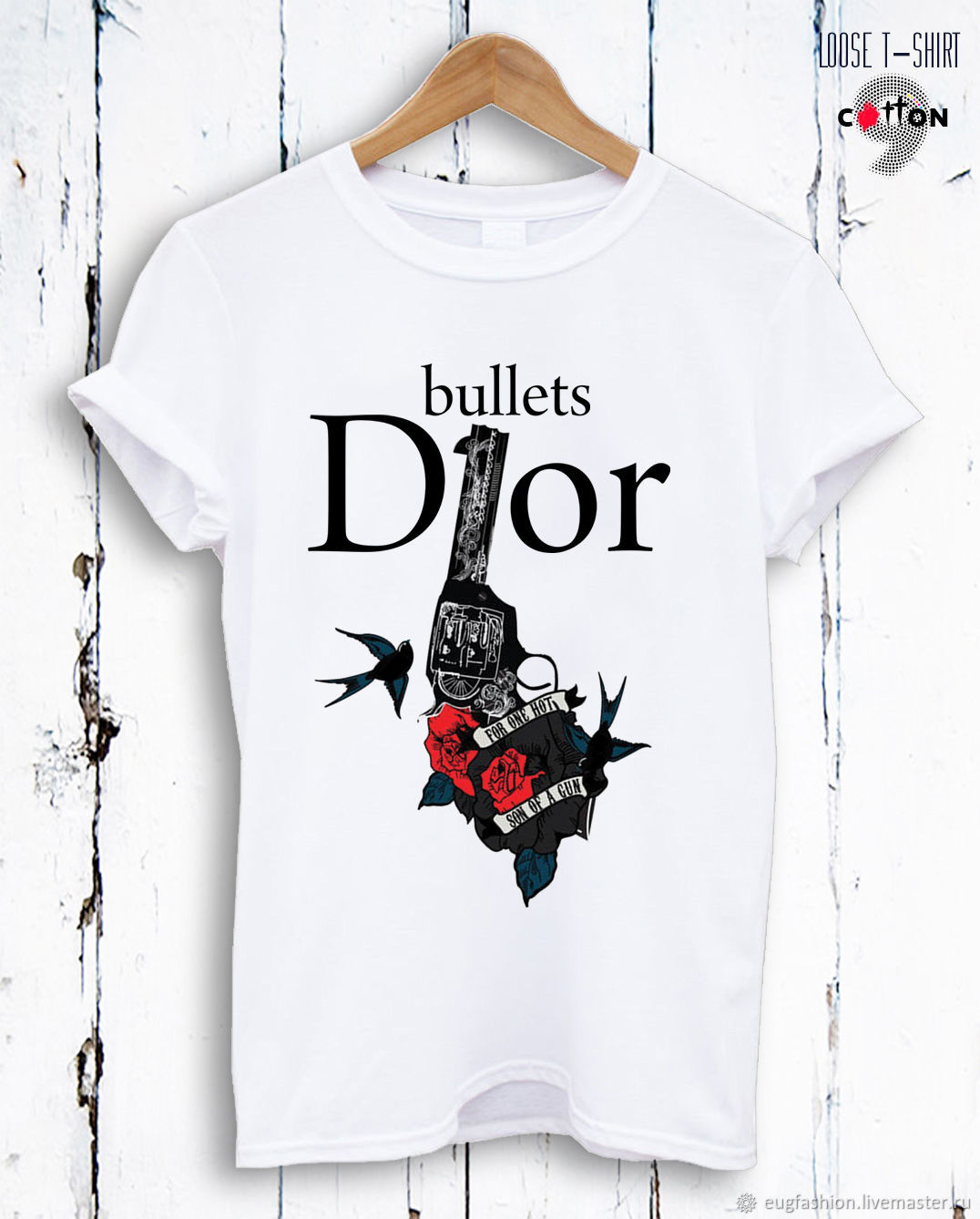 T-shirt white cotton with print in the form of a pistol - TEE10177CT, T-shirts, Sofia,  Фото №1