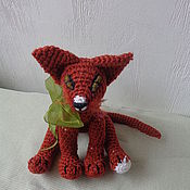 Куклы и игрушки ручной работы. Ярмарка Мастеров - ручная работа Вязаный котенок абиссинской породы-Абиссинка-апельсинка. Handmade.