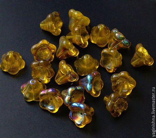 Для украшений ручной работы. Ярмарка Мастеров - ручная работа. Купить Чешское стекло, бусины цветы колокольчики, 13х15 цветочки, желтые. Handmade.