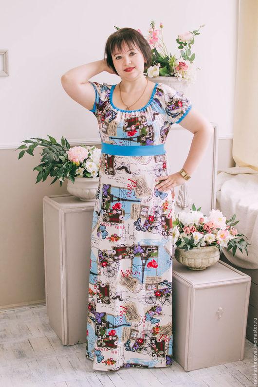 """Платья ручной работы. Ярмарка Мастеров - ручная работа. Купить Платье """"Лето в Париже"""". Handmade. Бежевый, платье ампир, трикотаж"""