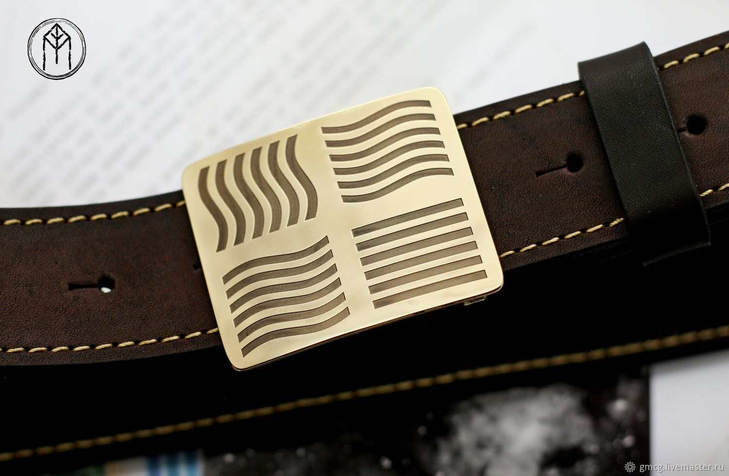 Leather belt with brass buckle ' Fifth element', Straps, Tolyatti,  Фото №1