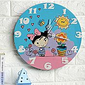 Для дома и интерьера handmade. Livemaster - original item Wall clock for girls. Hand painted. Handmade.