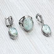 Украшения handmade. Livemaster - original item Aquamarine (earrings and ring) (1107). Handmade.