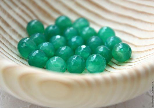 Для украшений ручной работы. Ярмарка Мастеров - ручная работа. Купить Бусина АГАТ зелёный гранённый шар 8 мм. Handmade.