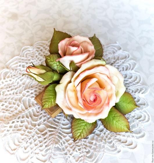 Заколки ручной работы. Ярмарка Мастеров - ручная работа. Купить Роза с бутонами.. Handmade. Бледно-розовый, цветы из фоамирана