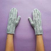handmade. Livemaster - original item Short knitted mittens Merino cashmere