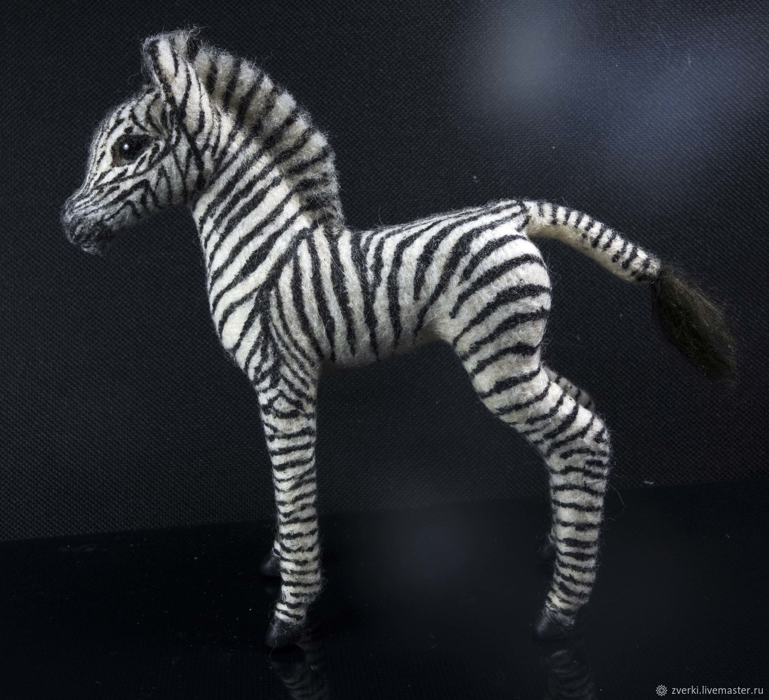 The African Zebra foal. The figurine is made of wool, Felted Toy, Moscow,  Фото №1