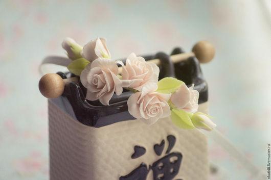 Диадемы, обручи ручной работы. Ярмарка Мастеров - ручная работа. Купить Ободок с розами цвета шампань. Handmade. Бежевый