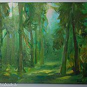 Картины и панно ручной работы. Ярмарка Мастеров - ручная работа Картина Зелёный лес, масло, холст Байба Озола. Handmade.