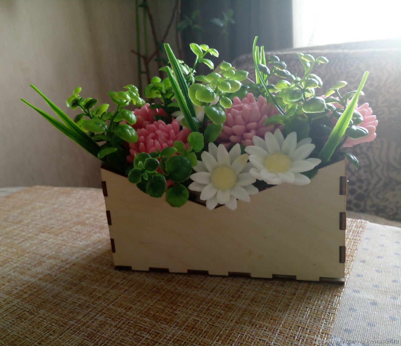Мыльный букет в деревянном конверте, Мыло, Домодедово,  Фото №1