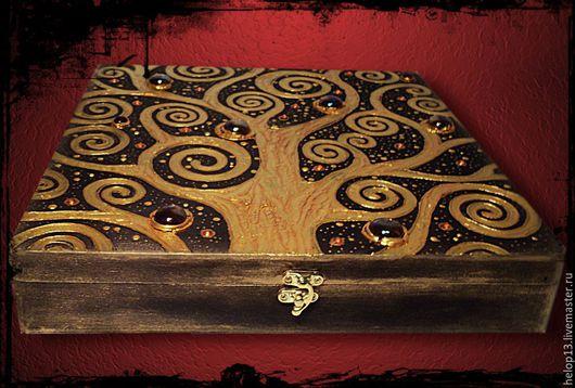 """Шкатулки ручной работы. Ярмарка Мастеров - ручная работа. Купить Шкатулка большая """"Древо жизни"""" по мотивам Г. Климта. Handmade."""