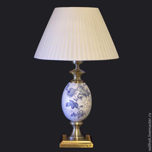 Освещение ручной работы. Ярмарка Мастеров - ручная работа. Купить Настольная лампа Синие розы. Handmade. Тёмно-синий