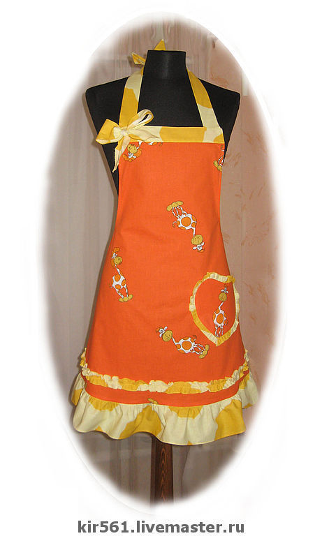 Кухня ручной работы. Ярмарка Мастеров - ручная работа. Купить Фартук  Жирафы малые. Handmade. Жирафик, кухонный фартук, оранжевый