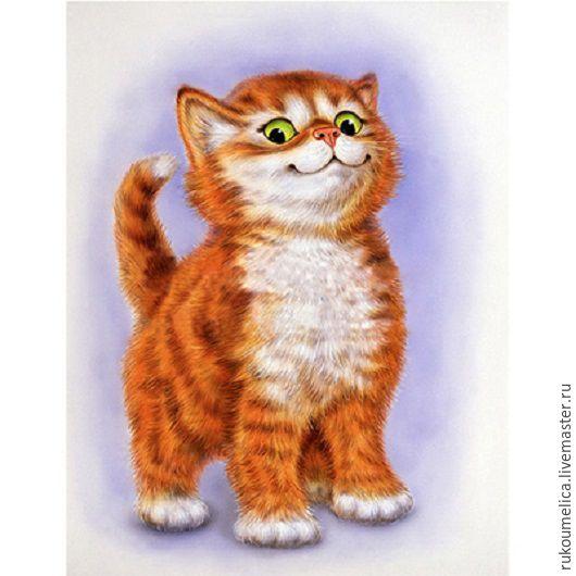 Вышивка ручной работы. Ярмарка Мастеров - ручная работа. Купить Важный кот. Алмазная живопись. Handmade. Рыжий, кот, важный