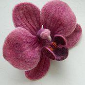 """Украшения ручной работы. Ярмарка Мастеров - ручная работа заколка войлочная """"Орхидея"""". Handmade."""